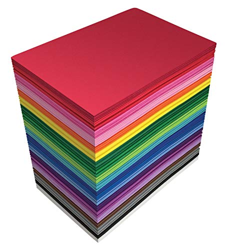 100 Pack EVA Foam Sheets, 5.5 x 8.5 Inch, Assorted Colors (20 Colors), 2mm Thick, by Better Office Products, for Arts and Crafts, 100 Sheets