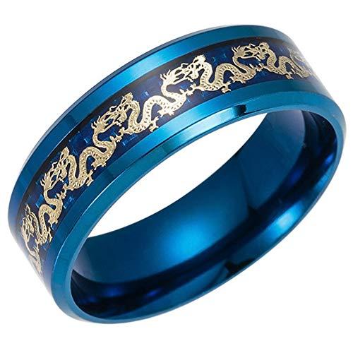Anillo Compromiso Banda Boda Negro Azul 8 Mm, Anillo Tungsteno Celta, Joyería Lujo Vikinga de Moda, Anillos Serpiente Fiesta del Orgullo para Hombres y Mujeres Regalos,Azul,11