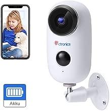 1080P Cámara de Seguridad Exterior Inalámbrica con Batería Recargable, Ctronics Cámara CCTV WiFi Impermeable con Detección de Movimiento PIR, Audio Bidireccional, Visión Nocturna IR - Nueva Versión