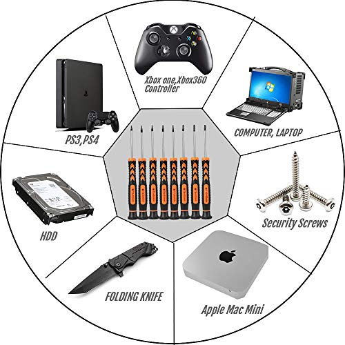 Torx Screwdriver Set,TEKPREM 8 in 1 Security Torx Screwdrivers with T3 T4 T5 T6 T7 T8 T9 T10 Torx Bit,Complete Torx Repair Kit for Mac Mini,iMac,Xbox Controller,PS3,PS4,Computer and Pocket Knife