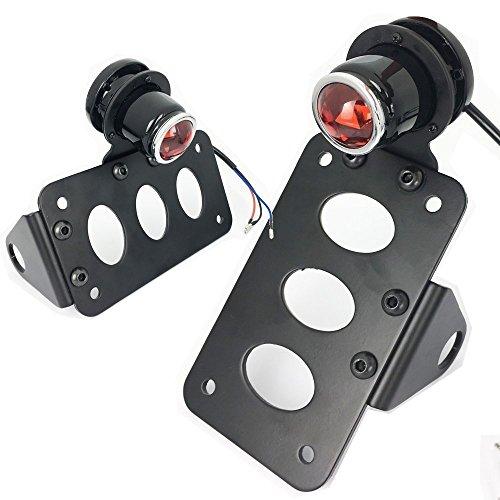 Anzene Support arrière de plaque de support latéral léger arrière de frein de LED Harley Davidson Kawasaki pour Honda noir