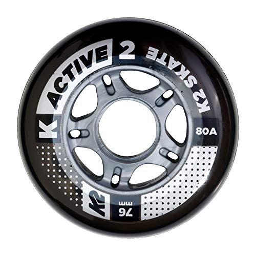 K2 Inline Skates Rollenset 76 mm Active Wheel Ersatzrollen - Schwarz - 4 Rollen - 30B3001.1.1.1SIZ