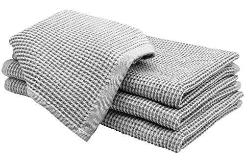 ZOLLNER 4er Geschirrtücher Waffelpique, Bio Baumwolle, ca. 50x70 cm, grau