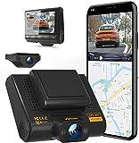 AQP Dual Dashcam Full HD 1080P - Cámara delantera y trasera para coche con GPS y WiFi, sensor G, WDR, grabación en bucle, gran angular de 170 ° con visión nocturna, detección de movimiento