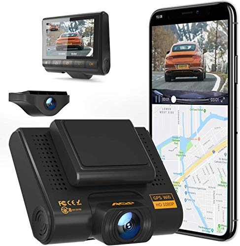 AQP Dual Dashcam Full HD 1080P anteriore e posteriore per auto con GPS e WiFi, sensore G, WDR, registrazione in loop, grandangolo 170° con visione notturna, rilevamento di movimento