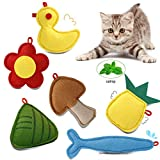 Cat Toys with Catnip for Teething,6PCS Cat Catnip Toy for Indoor Interactive Cat Chew Toy with Animal Shape Kitten Toys for Cute