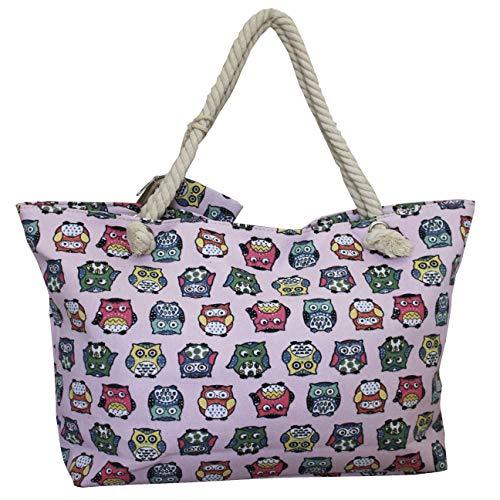 FERETI Tasche Mit Eulen Rosa Strand Leine Shopper Segeltuch Tiermotiv