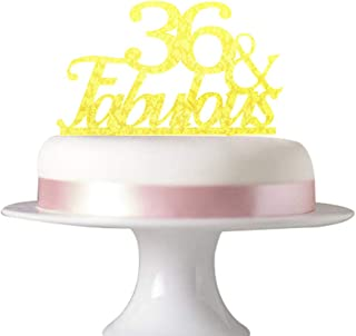 36 Fabulous cake topper for 36th birthday party decorations,wedding Anniversary beautiful glitter Acrylic Gold