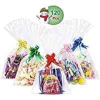 GWHOLE 120 Unids Bolsas de Celofán de Plástico Bolsa Transparente para Galletas Chocolates Chuches Dulces Bolsa Regalos -16 x 26 cm, Viene Lazos Decoraciones