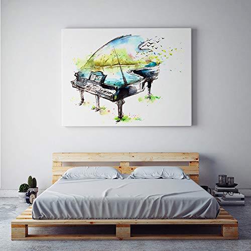 yhyxll Klavier Gitarre Violine Musikinstrument Wand Poster HD Drucken Aquarell Ölgemälde Für Wohnzimmer Wohnkultur Bilder Eine 40x50 cm
