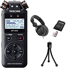 Tascam DR-05X Stereo Handheld Digital Audio Recorder with Polsen HPC-A30-MK2 Studio Headphones, 16GB Memory Card & Tripod Bundle