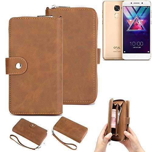 K-S-Trade Handy-Schutz-Hülle Für Coolpad Cool S1 Portemonnee Tasche Wallet-Hülle Bookstyle-Etui Braun (1x)