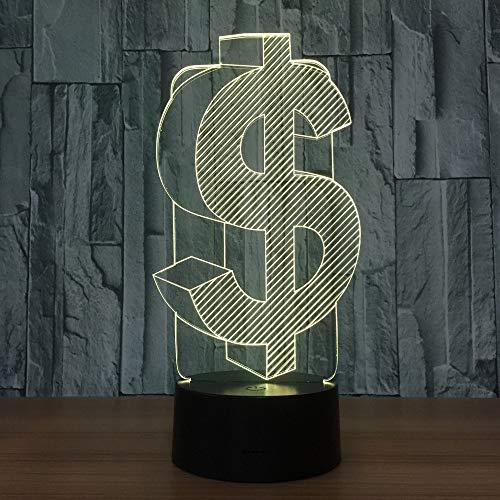 Dollar symbool 3D LED lamp indoor USB 3D lichtkleur veranderbaar kantoor Deco LED nachtlamp voor vrienden etc. Gift
