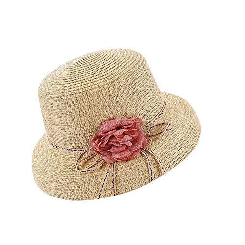 Sonnenhut Hut Mode Sommer Blume Sonnenhüte Für Frauen Breite Krempe Elegante Strohhüte Outdoor Strandhut Blumenbogen Sonnenschirm Hüte Beige