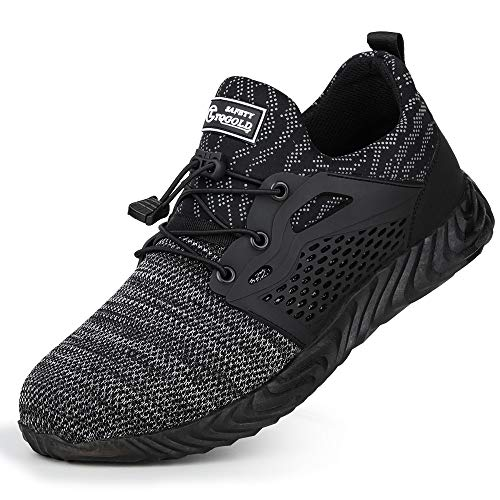 tqgold Sicherheitsschuhe Herren Damen Arbeitsschuhe Leicht Atmungsaktiv Schutzschuhe Stahlkappe Warm Gefütterte Industrie Schuhe Sicherheitssneaker(Grau-830,45 EU)
