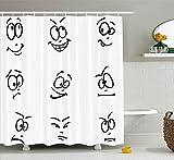 Nyngei Humordecor Shower Curtaindi Internet Meme Gestodel viso condiverse espressionidoodle Style Artwork Tessuto Arredo bagno Set con ganci Long Black White