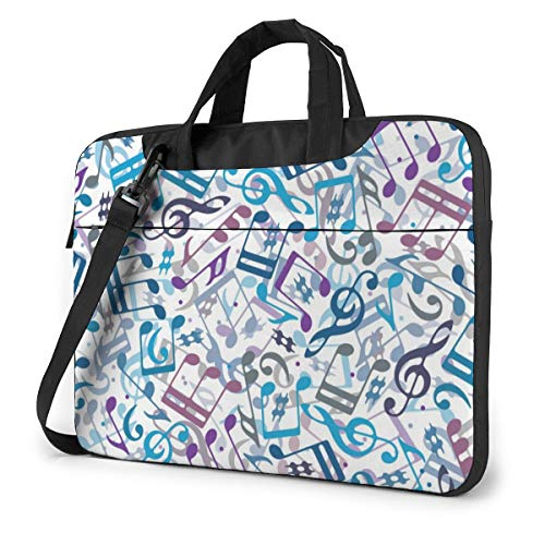 Music Note Blue Computer Bag Durable Laptop Briefcase Shoulder Messenger Bag for Computer Notebook 15.6 inch
