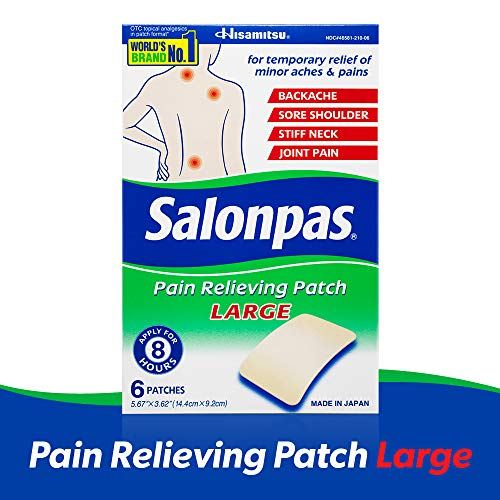 Salonpas, Pain Relieving Patch, LARGE, 6 Count (Pack of 1), Pain Relieving Patch for Back Pain, Neck Pain, Shoulder Pain, Knee Pain, Muscle Soreness and Pain, Joint Pain, Up to 8 Hours of Pain Relief
