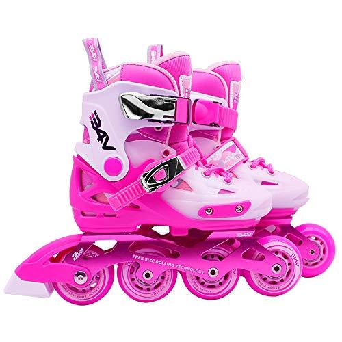 WANGLETA Rollerblade Bambini Completi da Uomo Regolabili Roller Pattini Scarpe Piatte Professionali per Adulti Pattini in Linea Rosa 27-30