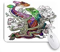 KAPANOUマウスパッド 美しい水彩爬虫類描画手落書きトカゲ動物野生動物かわいい ゲーミング オフィス おしゃれ 耐久性が良い 滑り止めゴム底 ゲーミングなど適用 マウス 用ノートブックコンピュータマウスマット