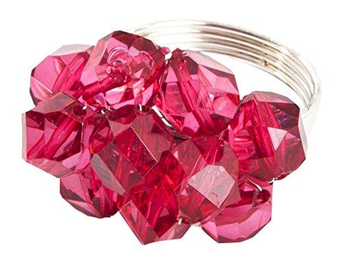 SARO LIFESTYLE Beaded Napkin Rings (4 Pack), Raspberry, 3'x3'