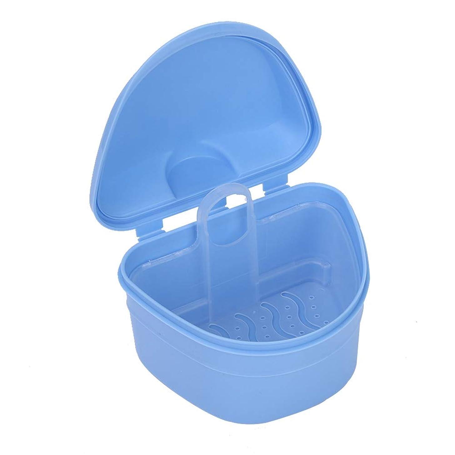 自然公園カリング仕様義歯ブラシ、旅行中に浸漬義歯乳首ジュエリー小さな収納ボックスを保存するための義歯ケースケース義歯クリーニングツール
