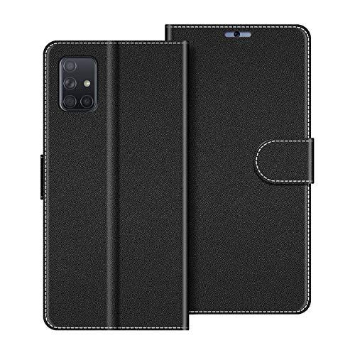 COODIO Handyhülle für Samsung Galaxy A51 Handy Hülle, Samsung Galaxy A51 Hülle Leder Handytasche für Samsung Galaxy A51 Klapphülle Tasche, Schwarz