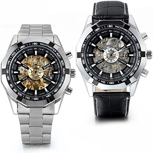 JewelryWe 2PCS Herren Armbanduhr, Analog Quarz, Fashion Business Casual Handaufzug mechanische Uhr mit Edelstahl Leder Armband, Schwarz Bezel Skelett Zifferblatt