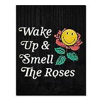 Chenjiaxu やる気を起こさせる引用キャンバス壁アートキャンバス絵画目を覚まし、家の装飾のためのキャンバスにバラの起業家のプリントを嗅ぐ-40X50Cmフレームなし