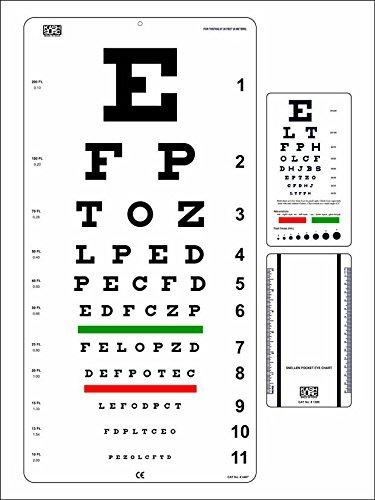 Snellen Eye Chart 22 x 11 pulgadas con Snellen Pocket Eye Chart Pack de 2 gráficos