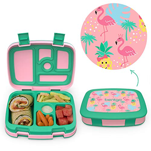 Bentgo Kids Prints Leak-Proof, 5-Compartment Bento-Style Kids Lunch Box - Ideal Portion Sizes for Ages 3 to 7 - BPA-Free and Food-Safe Materials - 2020 Collection - Tropical