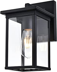 Outdoor Wall Lantern, Matte Black Patio Wall Light Fixture, Rust-Proof and Waterproof Exterior Porch Lamp Wall Mount Light with Clear Glass Shade, Suitable for Corridors, Entryway Doorway Garages