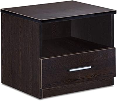 Delite Kom Bedroom Engineered Wood Bedside Table with Drawer Storage and Open Shelf, Wenge