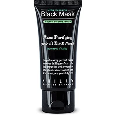 SHILLS Original Peel Off Black Mask With Activated Charcoal Deep Cleansing Purifying With New & Improved Formula For 2017, 100% Genuine, Natural, Oil-Control, Blackhead Removing (50ml) (Single Pack)