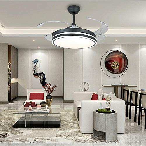 Lámpara de techo con iluminación LED, ventilador de techo, iluminación con cuchillas retráctiles, para dormitorio, salón, comedor, 3 cambios de color y velocidad del viento