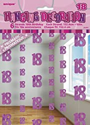 """Pack of 6 Glitz Pink 18th Birthday Hanging Decorations Hanging Pink 18th Party Decorations measure approximately 1.5m (5ft) in length Features shimmering """"18"""" numeral cut-outs linked by shiny metallic thread Ideal for adding sparkle and shine to entr..."""
