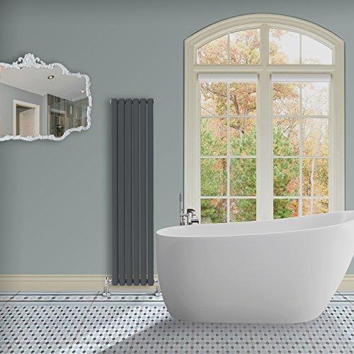 Simple Home | 1600 x 354 mm Radiador diseño Borvo brillante antracita horizontal panel soltero oval