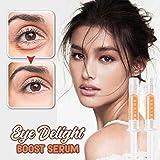 Luccase Augenserum Kit Augenknitterserum mit Vielzahl Pflanzlicher ätherischer Öle Eye Delight Boost Serum Augenringe Entfernen Anti-Falten Augencreme Wirksam, 1ml x 2