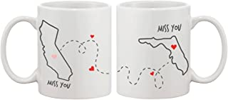 Long Distance Relationship Gift for Long Distance Couples, Friends, and Family - Miss You Customizable Matching Coffee Mug Cup Set