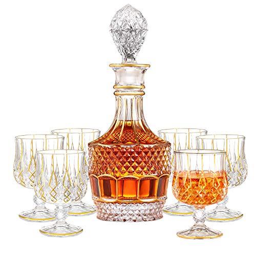 SALADAYS 7-Piece Whiskey Decanter Set, Gold Trim Whiskey Decanter with 6 Whiskey Glasses, Premium Quality Crystal Decanter Set for Liquor Scotch Bourbon(Ornate Decanter Set)