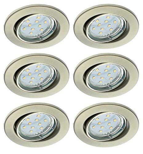 Trango Conjunto de 6 Downlights LED TG6729-062-6W en níquel mate redondo, Luz empotrada, proyectores del techo, foco 6x 5 vatios LED GU10 iluminante, 3000K blanco cálido Lámpara de techo, luz de techo