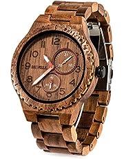 Bewell 木製腕時計 メンズ 復古 ウッドウォッチ アナログ腕時計 日付き 夜光 天然木 日本製クオーツ 軽量防水 男性用 誕生日ギフト クリスマスプレゼント 贈り物