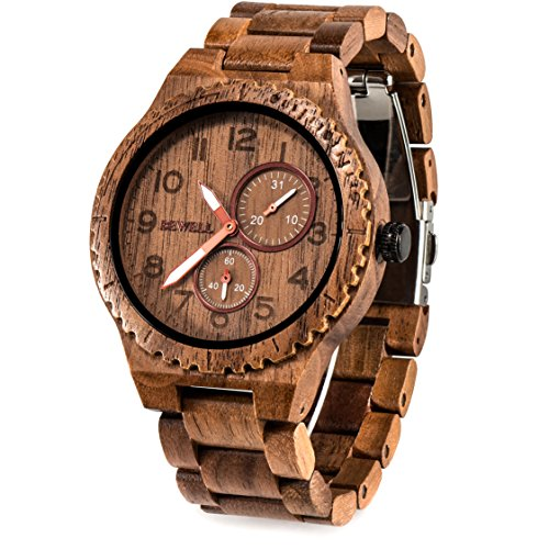 Bewell 腕時計 木製 メンズ クオーツ アナログ 日付き 夜光 男性用 ヴィンテージ 復古 木製腕時計 誕生日ギフト クリスマスプレゼント 贈り物(クルミ)