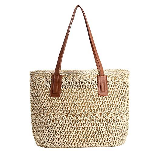 IYUNDUN Neue Stroh Strandtasche Handgemachte Damen Umhängetasche Für Frauen Größere Kapazität Sommerurlaub Lässige Einkaufseimer Taschen (Color : Beige)