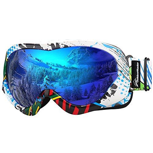 OutdoorMaster Skibrille Kinder, Snowboardbrille mit Rahmen, 100% OTG UV-Schutz Anti- Nebel Ski Goggles für Skifahren, Skaten, Snowboarden(Farbes Pattern + Blau (VLT 15%))