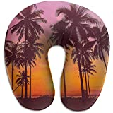 Hao-shop Sunset Palm Tree Print Almohada en Forma de UAlmoha