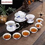 HELLOYOUNG CJ261 Kung Fu 10 Pezzi/Servizio da tè, Tazza da tè in Ceramica, teiera Blu e ...
