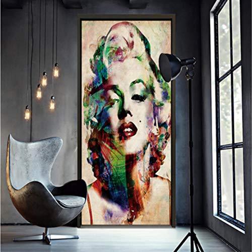 Türtapete Marilyn Monroe, schöne Hauptdekoration Kreative Wandkunst Wandtattoos Wohnzimmer Hotel Kaffee Decor Abnehmbare Selbstklebende Aufkleber Vinyl Mehrfarben