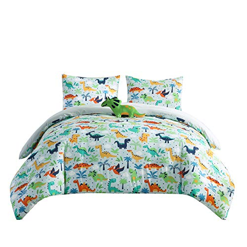 Chezmoi Collection 4-Piece Kids Bedding Comforter Set - Soft Microfiber Baby Blue Multi-Color Dinosaurs, Full/Queen