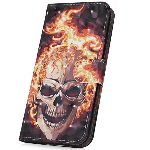 Surakey PU Leder Hülle für Nokia 3 Handyhülle Handytasche 3D Gemalt Muster Glitzer PU Tasche Schutzhülle Flip Case Brieftasche Etui Wallet Case Ständer Kartenfächer, Flammen schädel